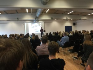 Foredrag om Snowden på Ringkøbing Handelsgymnasium, 2015. Foto: Merrild Jørgensen.