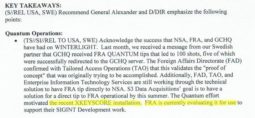 Udsnit af Top Secret NSA dokument.